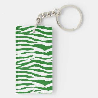 Green Zebra Stripes Key Ring
