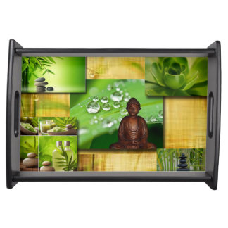 Green Zen & Buddha Serenity Collage Serving Tray