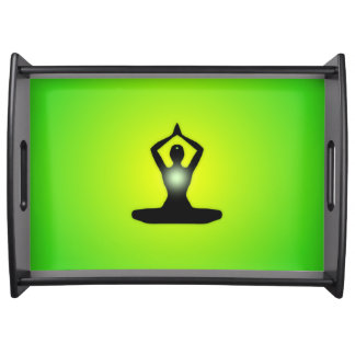 Green Zen Meditation Sunburst Serving Tray