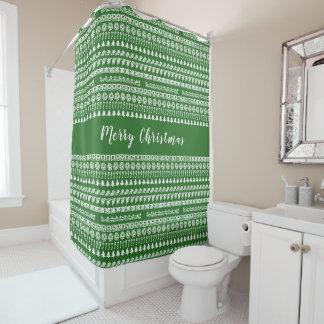 Greenand White Rows Christmas Picture Font Pattern Shower Curtain