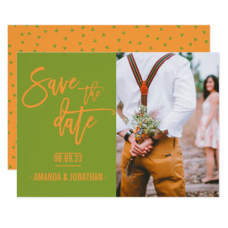 Greenery and Autumn Orange Wedding Save the Date Card