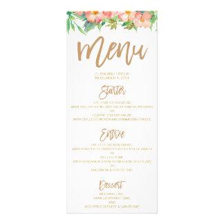 Greenery & Floral Pink & Gold Wedding Dinner Menu