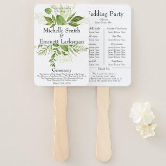 Greenery Ivy Rustic Elegant Simple Wedding Program Hand Fan