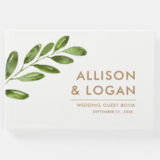 Greenery Leaves Wreath Modern Wedding Guest Book