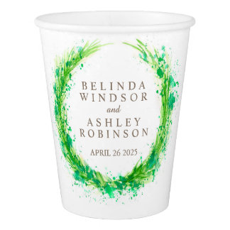 Greenery splashed watercolor wreath wedding cups