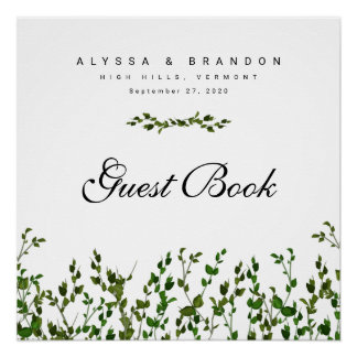 Greenery Vines Custom Guest Book Wedding Poster
