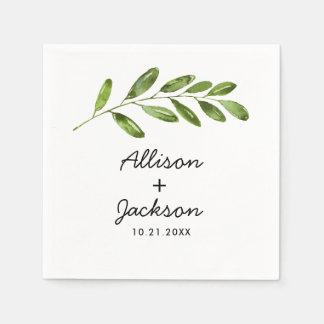 Greenery Watercolor Leaf Minimalist Wedding Napkin Paper Napkins