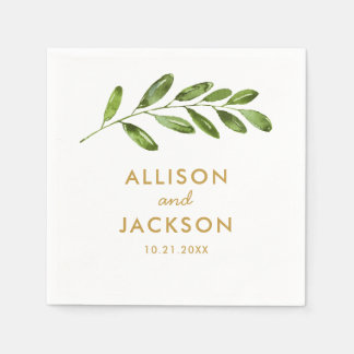 Greenery Watercolor Leaf Modern Wedding Napkin Paper Napkin