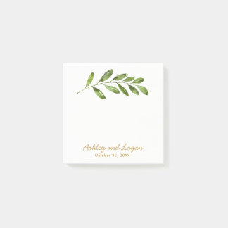 Greenery Watercolor Leaves Wedding Post-it Notes