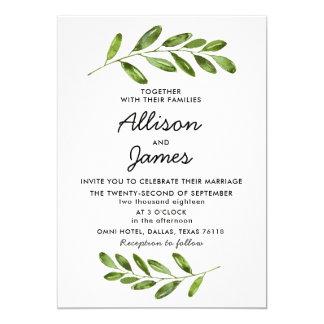 Greenery Wreath Leaves Modern Wedding Invitation