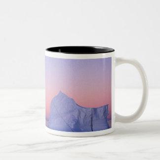 Greenland, Iceberg at sunset. Two-Tone Coffee Mug