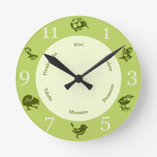 Greens  New Zealand birds wall clock
