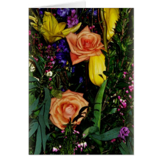 Greeting Card Orange Rose Yellow Lily Bouquet