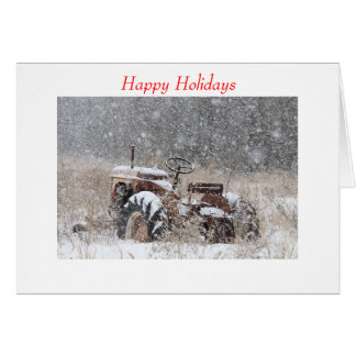 Greeting Card Snow Tractor