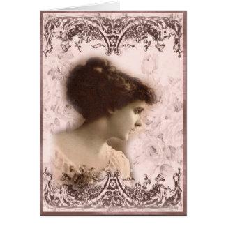 Greeting Card, Vintage Girl Design Card