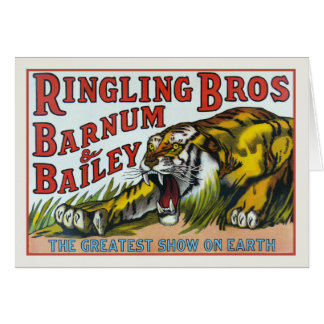 Greeting Card with Vintage Circus Tiger Print