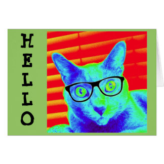 Greeting Note Card Hello Green Cat Glasses