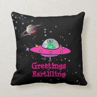 """""""Greetings Earthling"""" Spaceship and Alien - Pillow"""