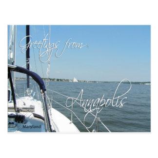 Greetings from Annapolis sailboat  Chesapeake Bay Postcard