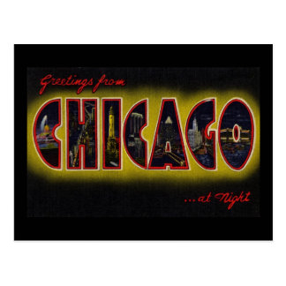 Greetings from Chicago Illinois At Night Post Cards