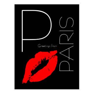 Greetings from Paris Red Lipstick Kiss Black Postcard