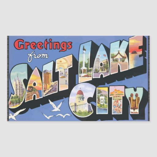 Greetings From Salt Lake City, Vintage Rectangle Stickers