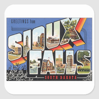 Greetings From Sioux Falls,South Dakota Square Sticker