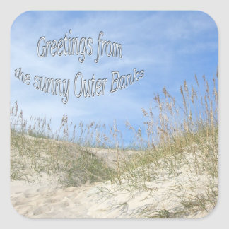 Greetings From Sunny OBX Sea Oats Items Square Sticker
