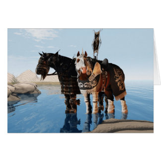 Greetings two horses chargers greeting cards
