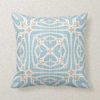 Greige Seafoam Green Taupe Brown Batik Pattern Cushion