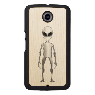 Grey Alien Wood Phone Case