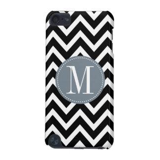 Grey and Black Chevron Custom Monogram iPod Touch (5th Generation) Covers