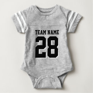 Grey and Black Football Jersey Sports Baby Romper Baby Bodysuit