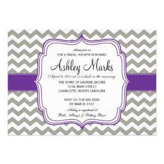 Grey and Dark Purple Cheveron Invitaiton Custom Invite