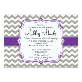 Grey and Dark Purple Cheveron Invitaiton 13 Cm X 18 Cm Invitation Card
