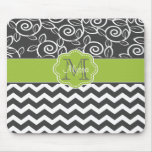 Grey and Green Chevron Personalised Mousepad