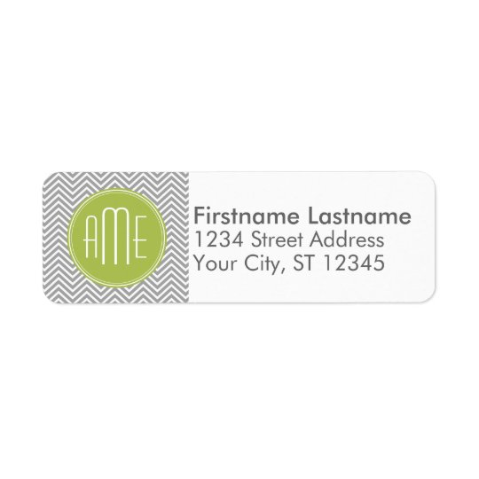 Grey and Lime Chevrons with Custom Monogram Return Address Label