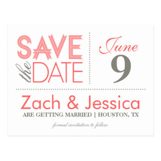 Browse the Modern Save the Date Postcards Collection and personalise by colour, design or style.