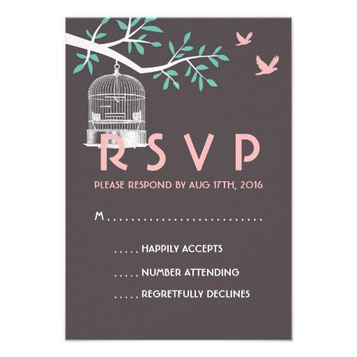 Grey and Pink Wedding RSVP Card Vintage Bird Cage