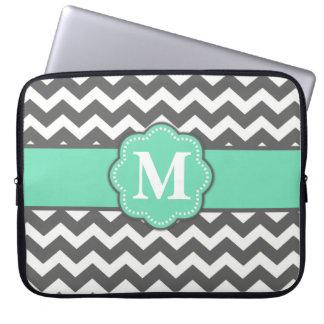 Grey and Teal Chevron Monogram Laptop Sleeve