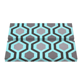 Grey and Turqouise Modern Geometric Canvas Print