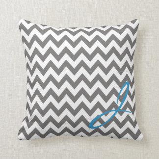 Grey and White Chevron Monogram Nursery Pillow
