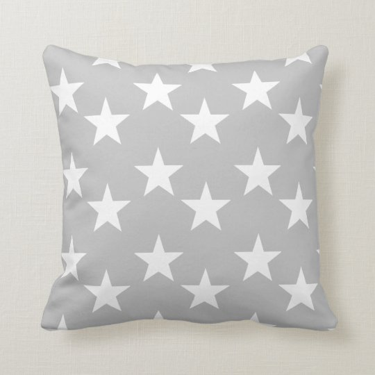 Grey and White Star Pattern Accent Pillow