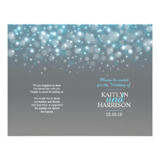 Grey aqua blue bubbles wedding programme
