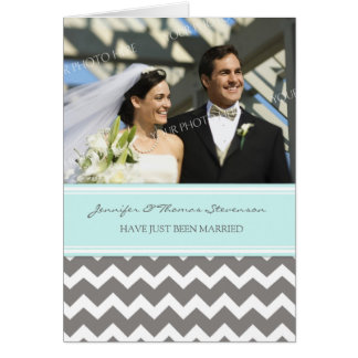 Grey Aqua Chevron Just Married Photo Announcement