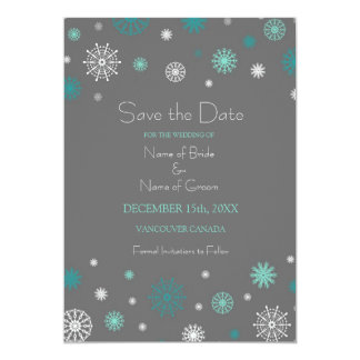 Grey Aqua Photo Winter Wedding Save the Date Card