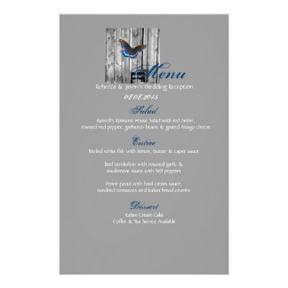 Grey Barn Wood BLue Butterfly Wedding Stationery