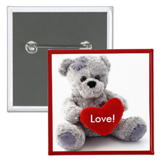 Grey Bear With Heart 15 Cm Square Badge