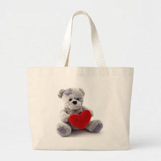 Grey Bear With Heart Jumbo Tote Bag