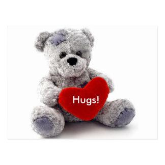 Grey Bear With Heart Postcard